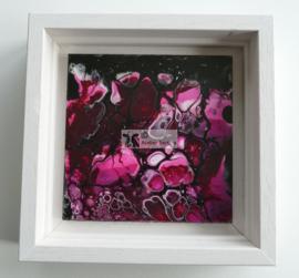 Schilderij roze wit zwart acryl gieten