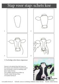 Gratis leskaart: stap voor stap schetsen koe