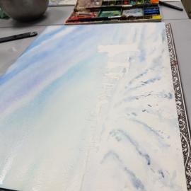 Roodborstje aquarel schilderij