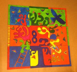 les: collage schilderij (met de hele klas werken aan een groot schilderij)