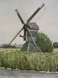 Mill watercolor painting