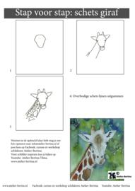 Gratis leskaart: stap voor stap schetsen giraf