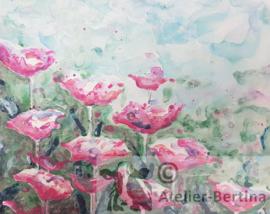 Roze bloemen aqua-acryl schilderij