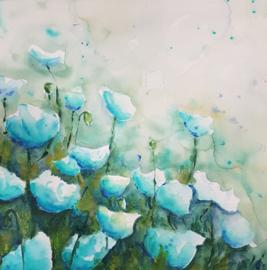 Blauwe bloemen aqua-acryl schilderij