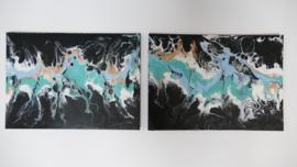 Twee luik: blauw in licht blauw, acryl gieten 20  x 60 cm