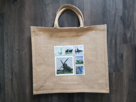 Jute shopper tas met aquarel afbeeldingen koe / paard / vogels of bloemen