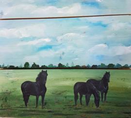 Paarden landschap op steigerhout schilderij