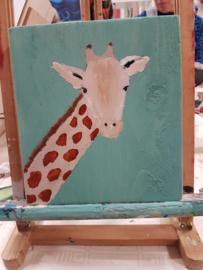 Dier op steigerhout schilderen