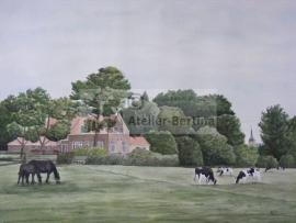Boerderij met eigen paarden en koeien, aquarel schilderij