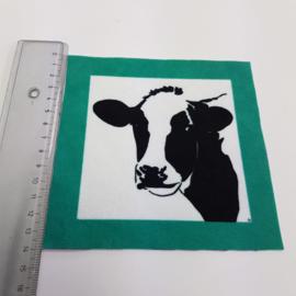 Koe met groen turquoise rand: stofje