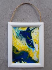 Schilderij blauw en geel acryl gieten