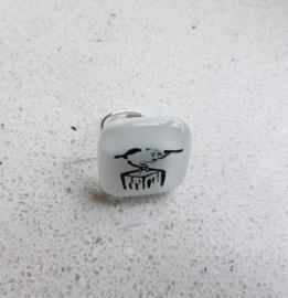 Vogel ring met glazen applicatie