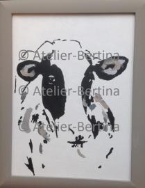 Koe acryl schilderij op canvas en met lijst