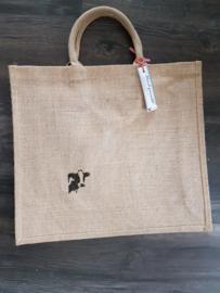Jute shopper tas met schildering koe