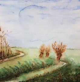 Landschap aqua-acryl schilderij