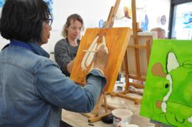 Doorschuif schilderen teambuilding (acryl op canvas)