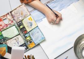 Skutsjes aquarel schilderij