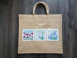 Jute shopper tas met aquarel afbeeldingen bloemen