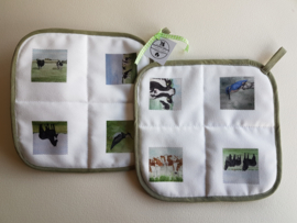 Rural potholders (cow, horses and birds)