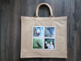 Jute shopper tas met aquarel afbeeldingen vogels