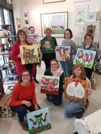 Vrijgezellenfeestje acryl schilderen maart 2020 te Waag10 Raalte