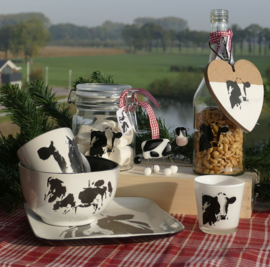Koeien kerstpakket met luxe glasfusion koe beeld