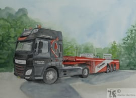 Auto/vrachtauto/tractor aquarel schilderij