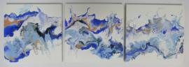 Drie luik: blauw met zalm, acryl gieten 20  x 60 cm