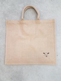 Jute shopper tas met schildering geit