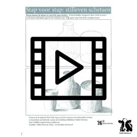 les live /tutorial schetsen : stilleven, schaduw stap voor stap en daarna van plat naar 3d