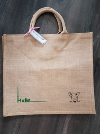 Jute big shopper met koe en logo. In opdracht.