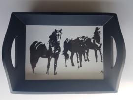 Dienblad 3 paarden zwart wit