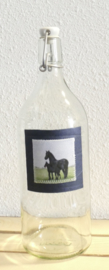 Karaf fles  met paard aquarel : sfeerlicht, nootjes, suikerpot of vaasje.