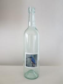 Fles met ijsvogel aquarel : sfeerlicht, nootjes, suikerpot of vaasje.