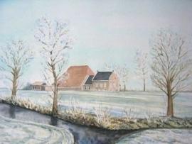 Boerderij in de Winter, aquarel schilderij