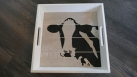 Dienblad koe (met de handbeschilderd).