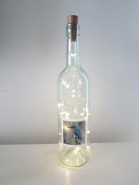 flessen lamp met led verlichting (ijsvogel)