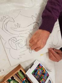 1 cursus les:  aqaurel-/ acryl schilderen. Atelier-Bertina te Waag 10 Raalte