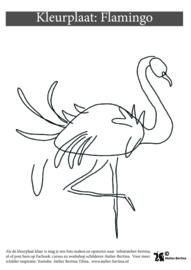 Flamingo kleurplaat