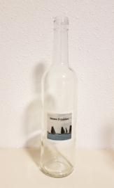 Fles met skûtsje zeilboot aquarel : sfeerlicht, nootjes, suikerpot of vaasje. (Moai Fryslân)