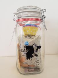 Koeien weckfles met cake bakspullen
