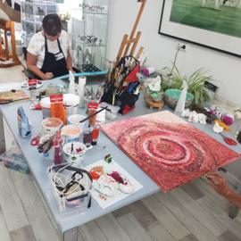 Vrijdag 22 oktober 2021 Workshop mixed media met acrylverf in Raalte