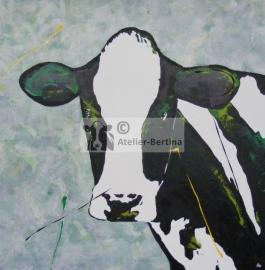 Koe groen acryl schilderij