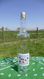 Fles met klaprozen aquarel : sfeerlicht, nootjes, suikerpot of vaasje.