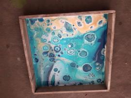 Sierdienblad blauw acryl gieten 25 x 25