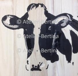 Koe acryl schilderij op hout (verkocht)
