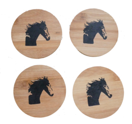 4 x onderzetters paard