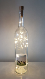 Bottle with cow painting: mood light, nuts, sugar bowl or vase.