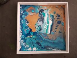 dienblad blauw acryl gieten 40 x 40 cm
