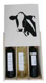Wijnkist met 3 wijnen en afbeelding koe
